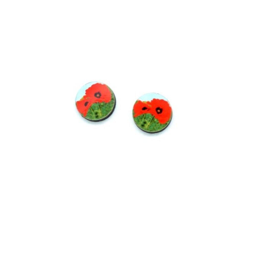 Dunitz & Co Gerbera Flower Dot Stud Earrings