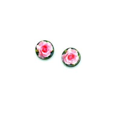 Dunitz & Co Pink Rose Flower Dot Stud Earrings