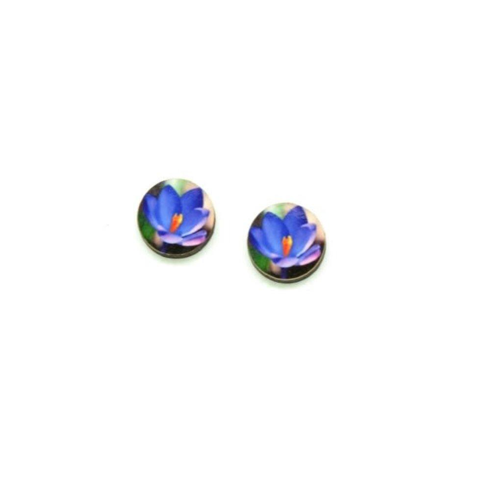 Dunitz & Co Violet Flower Dot Stud Earrings