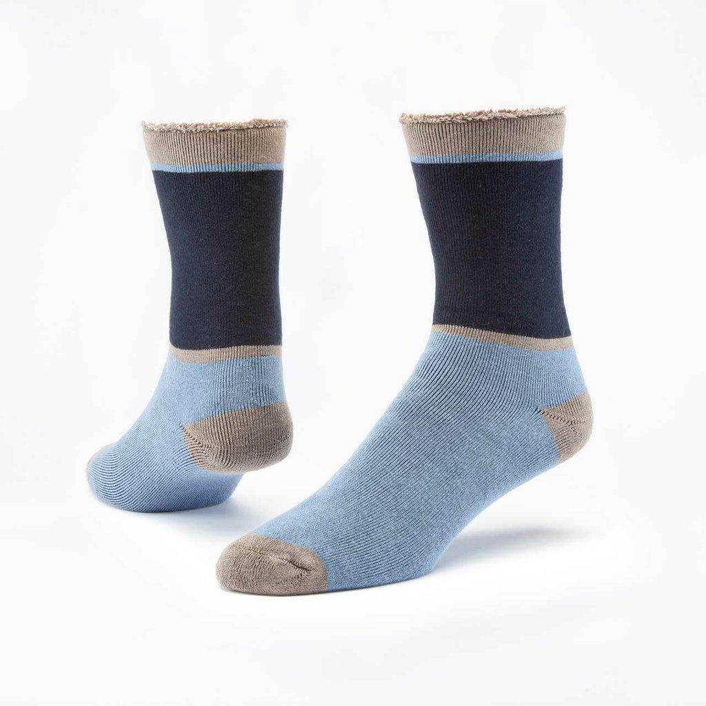 Maggie's Organics Navy/Blue Colorblock Cotton Snuggle Socks
