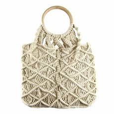Global Crafts Macrame Bag with Round Wood Handle