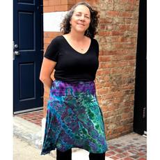 Unique Batik Tie Dye Dance Skirt: Green