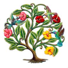 Global Crafts Hummingbirds & Hibiscus Painted Drum Art