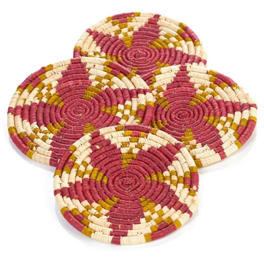 Serrv Malia Raffia Coaster Set of Four
