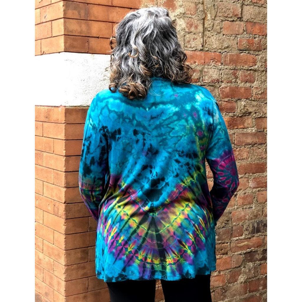 Unique Batik Tie Dye Pocket Jacket: Teal