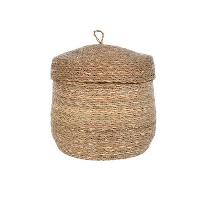 """Ten Thousand Villages Stitched Holga Lidded Basket 12"""""""