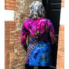 Unique Batik Tie Dye Hoodie Tunic: Purple