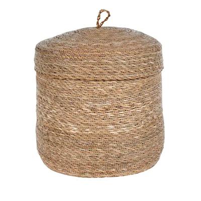 """Ten Thousand Villages Stitched Holga Lidded Basket 15"""""""