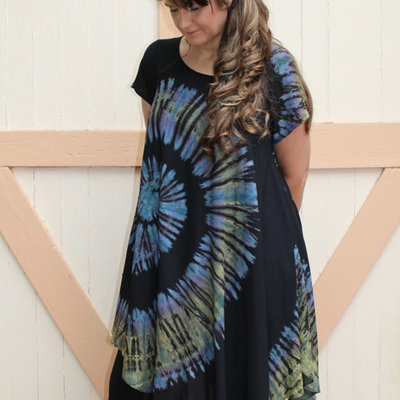 Unique Batik Rosie Tie Dye Rayon Dress: Blue Spiral