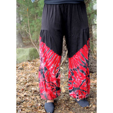 Unique Batik Cotton Tie Dye Balloon Lounge Pants: Red
