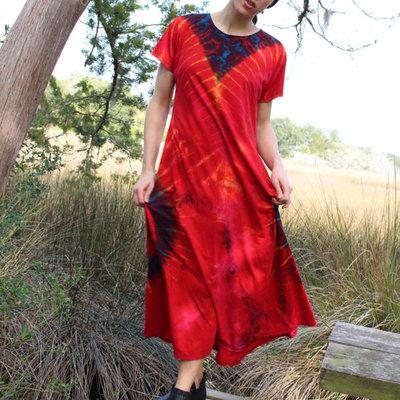 Unique Batik Short Sleeved Tie Dye Maxi Dress Red
