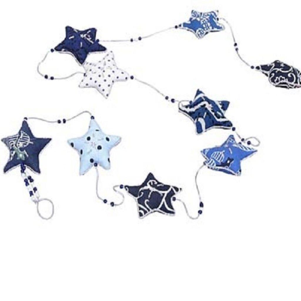 Ten Thousand Villages Embroidered Blue & White Star Garland