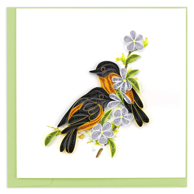 Quilling Card Baltimore Oriole Quilled Card