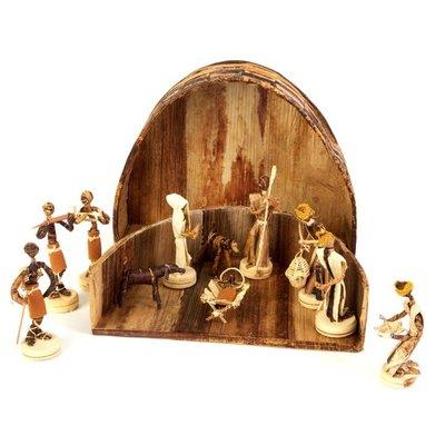 Swahili Imports Banana Fiber Nativity Scene in Rounded Box