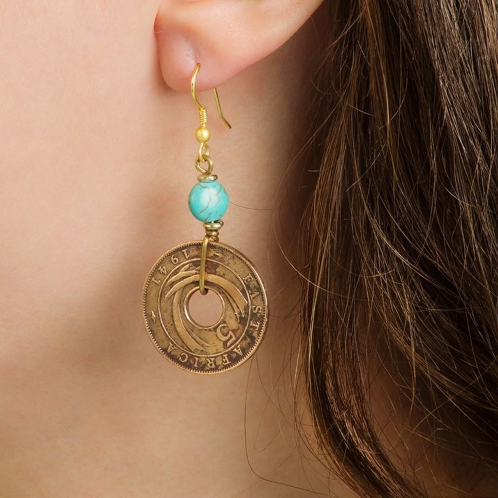 Swahili Imports Kenyan Shilling and Turquoise Bead Earrings