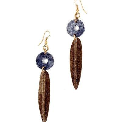 Swahili Imports Mixed Metal Leaf Earrings