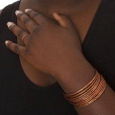 Swahili Imports Stacked Hammered Copper Cuff Bracelet
