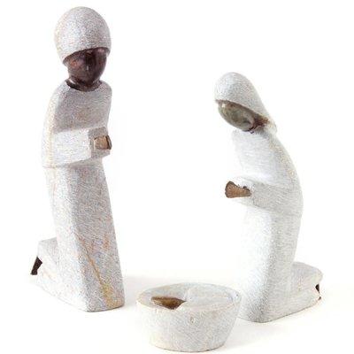 Swahili Imports Serpentine Stone Three Piece Nativity