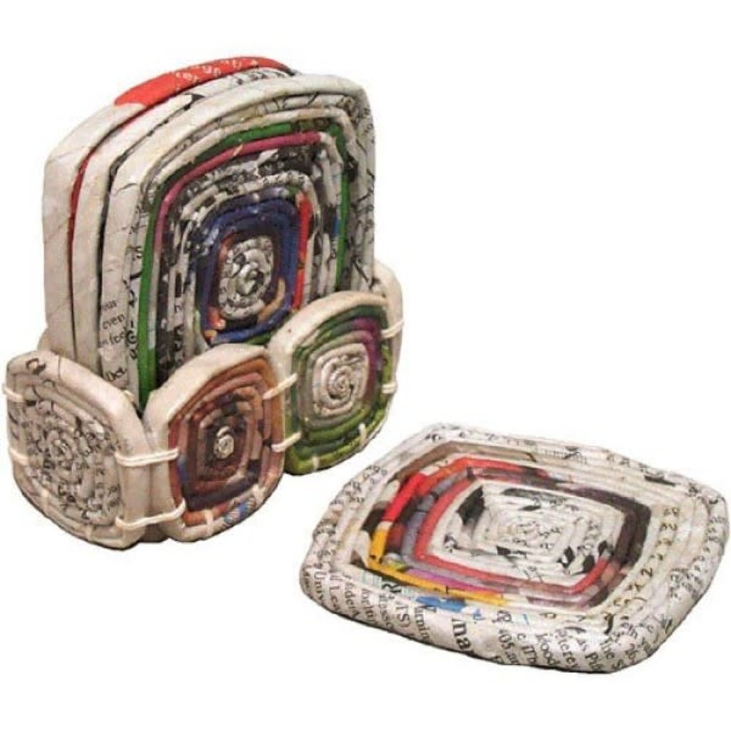 Ten Thousand Villages Recycled Newspaper Coasters