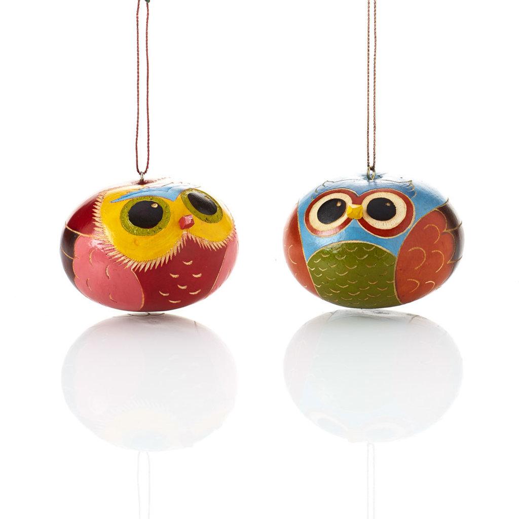 Serrv Brilliant Owl Gourd Ornament