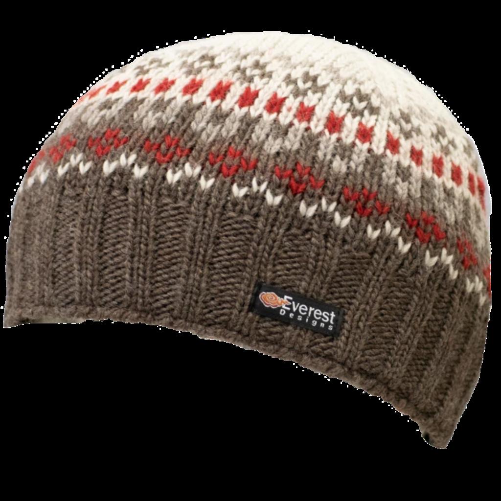 Everest Designs Brooklyn Fleece Lined Wool Brown Beanie Hat