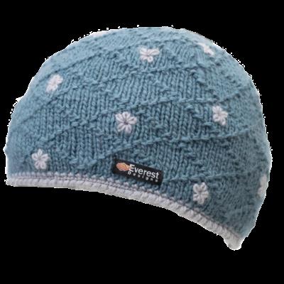 Everest Designs Dolma Fleece Lined Wool Blue Beanie Hat