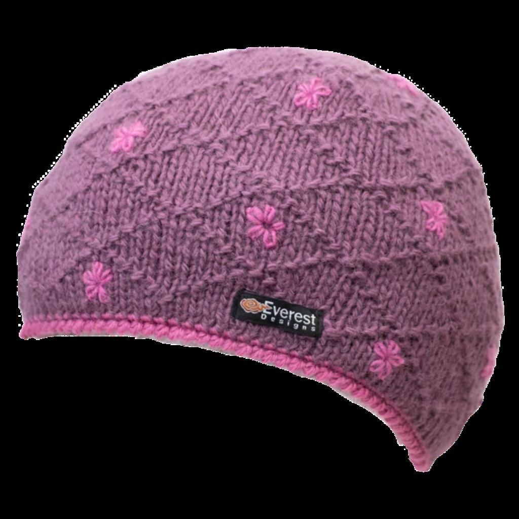 Everest Designs Dolma Fleece Lined Wool Rose Beanie Hat