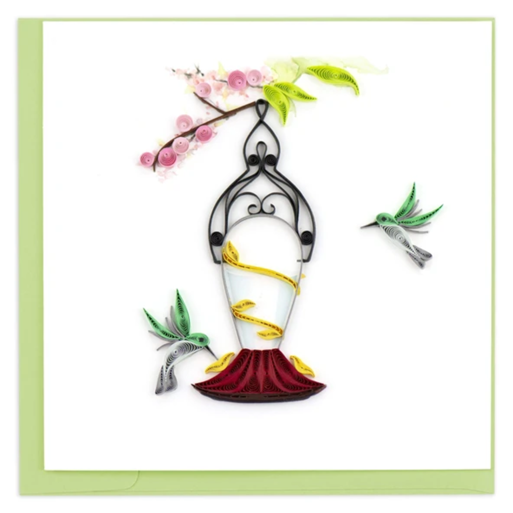 Quilling Card Hummingbird Feeder Quilled Card