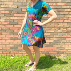 Unique Batik Ana Tie Dye T-Dress: Teal