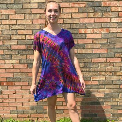 Unique Batik Ana Tie Dye T-Dress: Purple