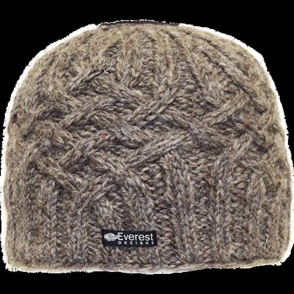 Everest Designs Niroj Fleece Lined Wool Oatmeal Beanie Hat