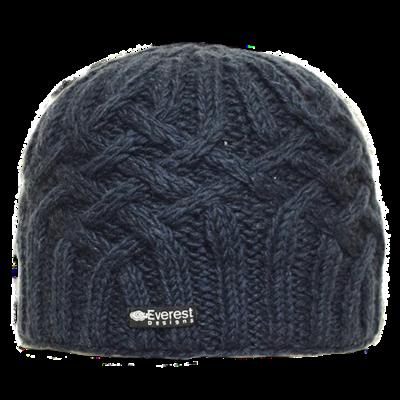 Everest Designs Niroj Fleece Lined Wool Navy Beanie Hat