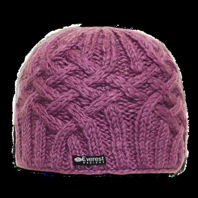 Everest Designs Niroj Fleece Lined Wool Purple Beanie Hat