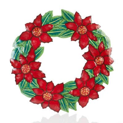 Serrv Poinsettia Painted Drum Art Wreath