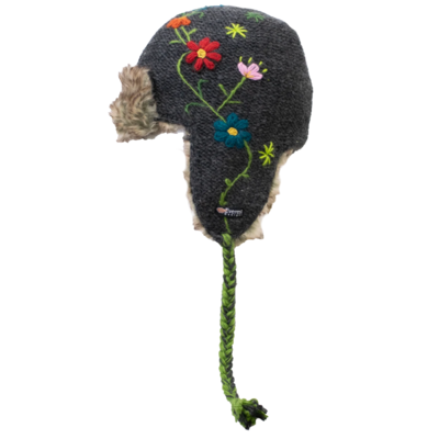 Everest Designs Reshma Lined Wool Charcoal Earflap Hat