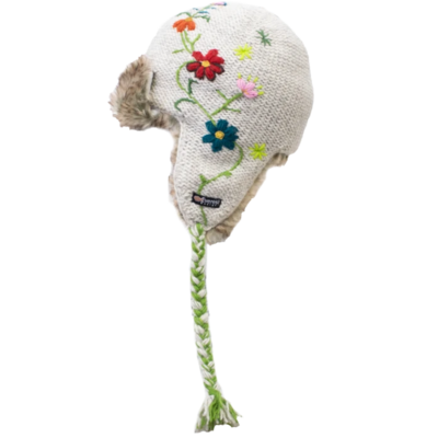 Everest Designs Reshma Lined Wool Oatmeal Earflap Hat