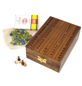 Global Crafts Shesham Wood Mancala/ Cribbage Game