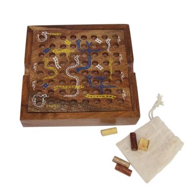 Global Crafts Shesham Wood Snakes & Ladders Game
