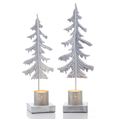 Serrv Silver Pine Large Candle Stand
