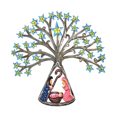 Global Crafts Tabletop Tree of Life Drum Art Nativity
