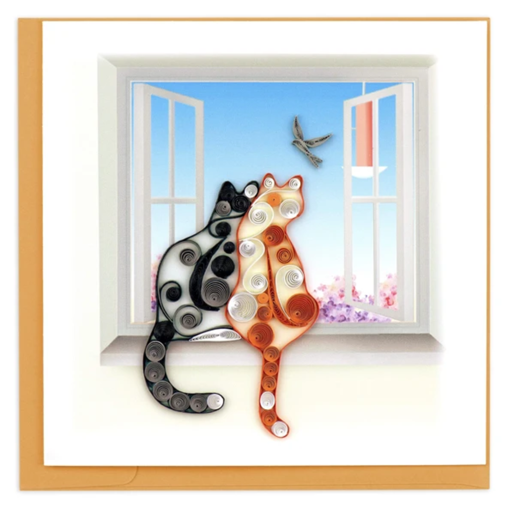 Quilling Card Two Cats Quilled Card