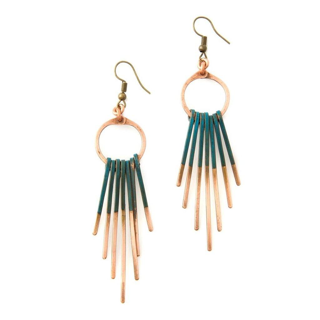 Swahili Imports Viridian Fringe Copper Earrings