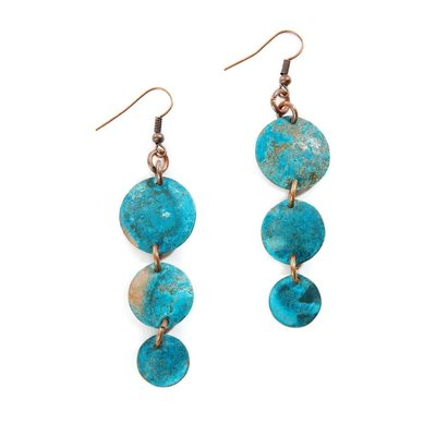 Swahili Imports Viridian Triplet Copper Earrings