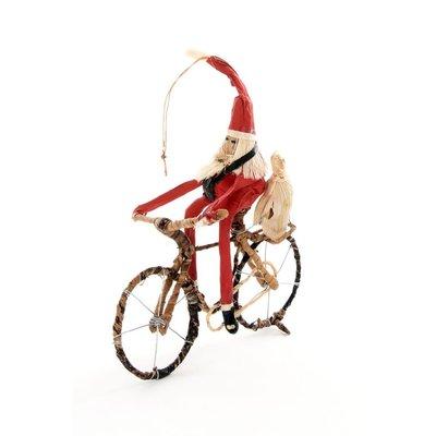 Swahili Imports Cycling Santa Claus Banana Fiber Ornament