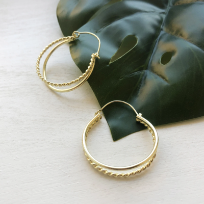 World Finds Daphne Double Hoops