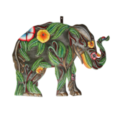 Global Crafts Hibiscus Elephant Painted Drum Art
