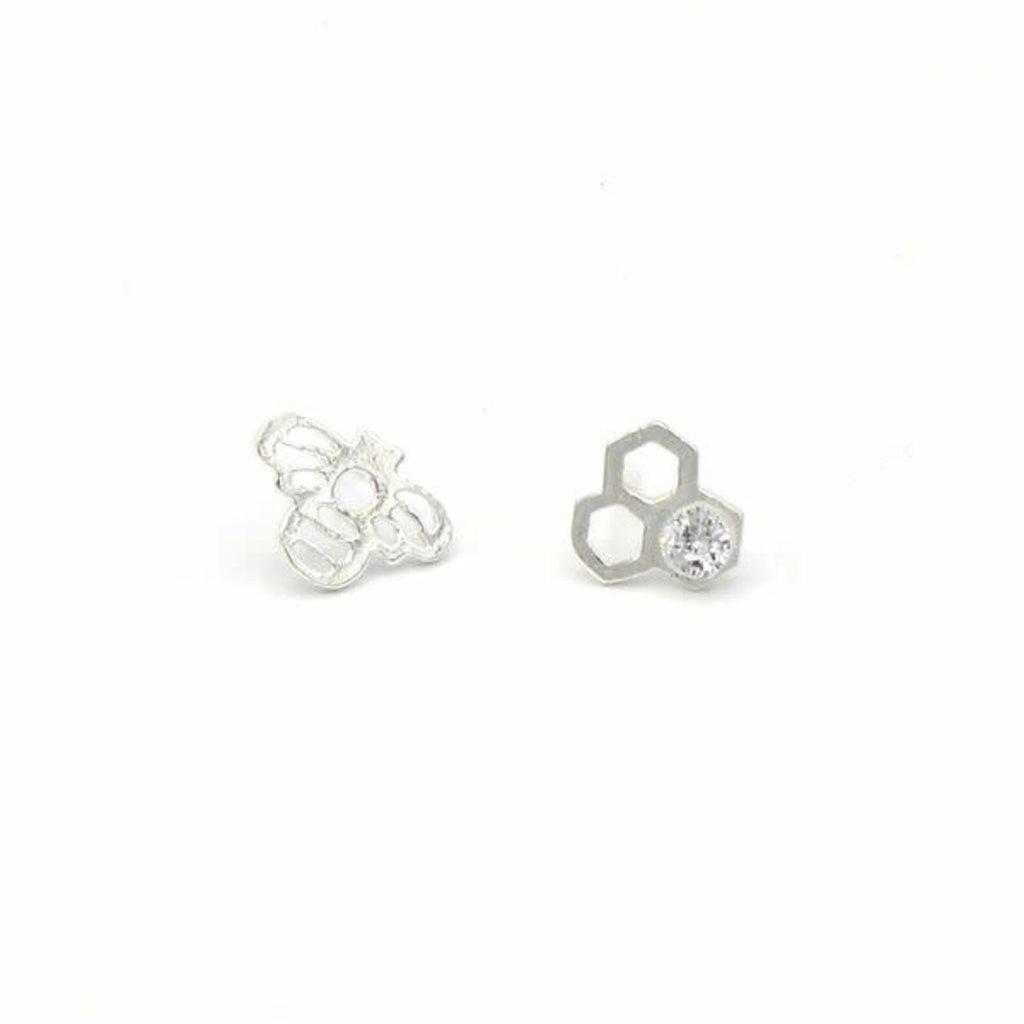 Fair Anita Honeycomb Silver-plated Stud Earrings