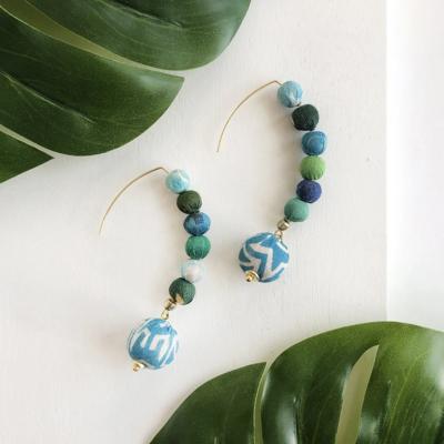 World Finds Kantha Water Lillies Drop Earrings