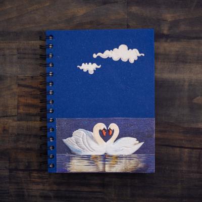 Mr Ellie Pooh Love Swans Dark Blue Large Journal