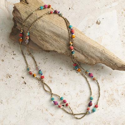 Serrv Long Sari Bead and Brass Necklace
